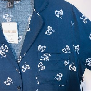 NWT Notched Collar Button Up Blouse